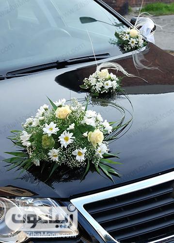 مدل ماشین عروس با گل سفید بزرگ و کوچک