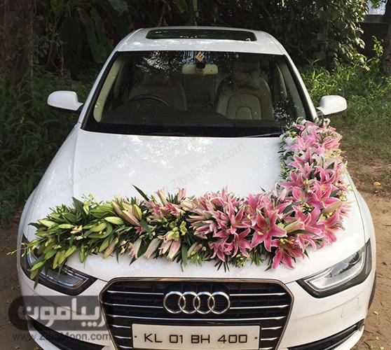مدل ماشین عروس با گل لیلیوم صورتی