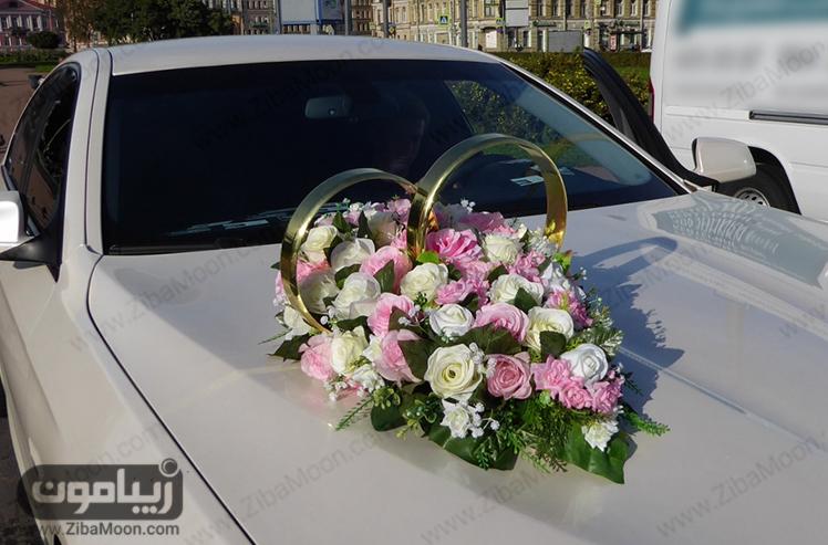 مدل ماشین عروس با گل و حلقه طلایی