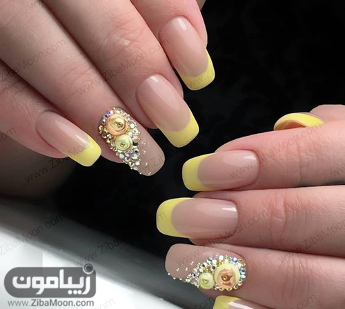 طراحی ناخن با گل برجسته و فرنچ ناخن زرد