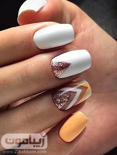 مدل دیزاین ناخن شیک با لاک سفید طلایی نارنجی
