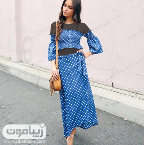 استایل تابستانی دخترانه با لباس و دامن آبی خالخالی