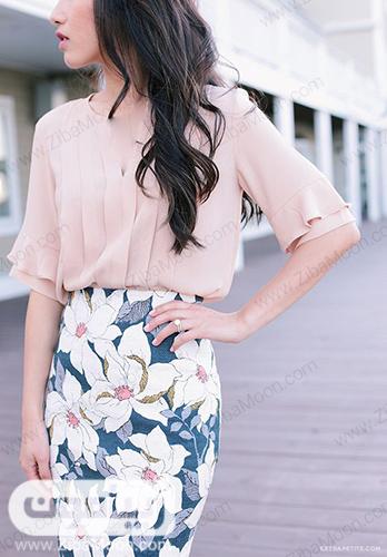تیپ دخترانه شیک و تابستانی با شومیز حریر و دامن گلدار
