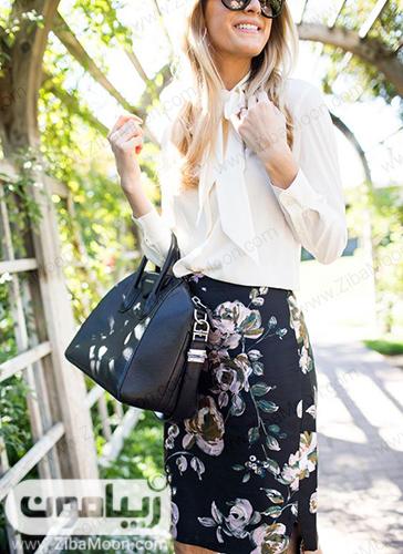 مدل لباس تابستانی و شیک با شومیز سفید و دامن کوتاه کلدار