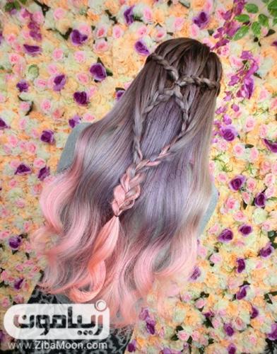 رنگ مو دودی صورتی فانتزی