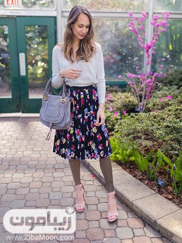 مدل لباس تابستانی با دامن کوتاه گلدار