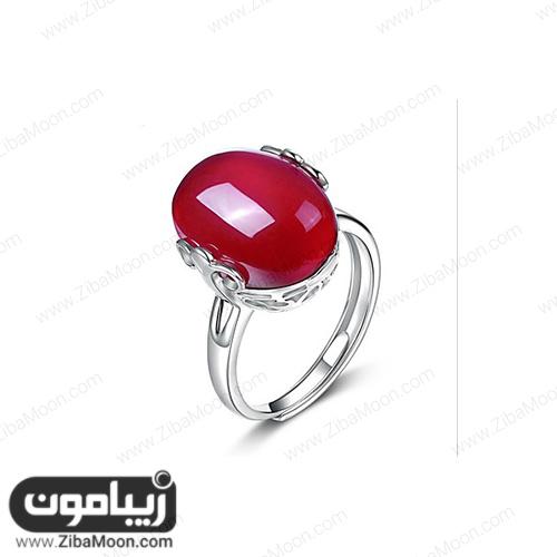 انگشت نقره با سنگ یاقوت قرمز