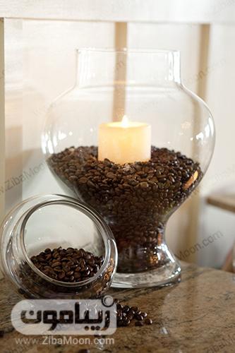 ایده تزئین آشپزخانه با شمع و قهوه