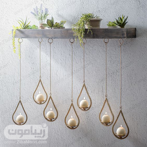 ایده دیزاین دیوار آشپزخانه با شمع