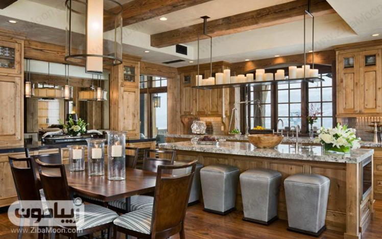دیزاین آشپزخانه با شمع های بزرگ
