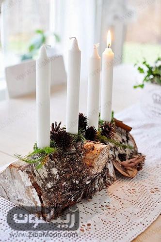 شمع آرایی روی کنده درخت