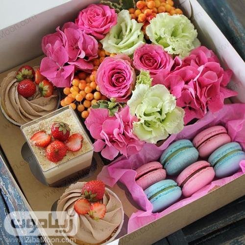 جعبه گل و شیرینی مدرن برای خواستگاری