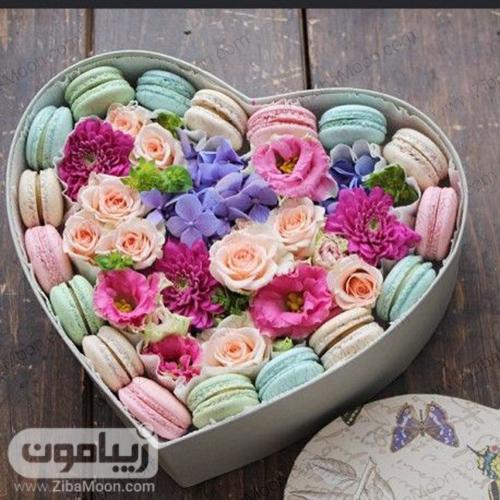 باکس گل و ماکارون قلبی برای خواستگاری