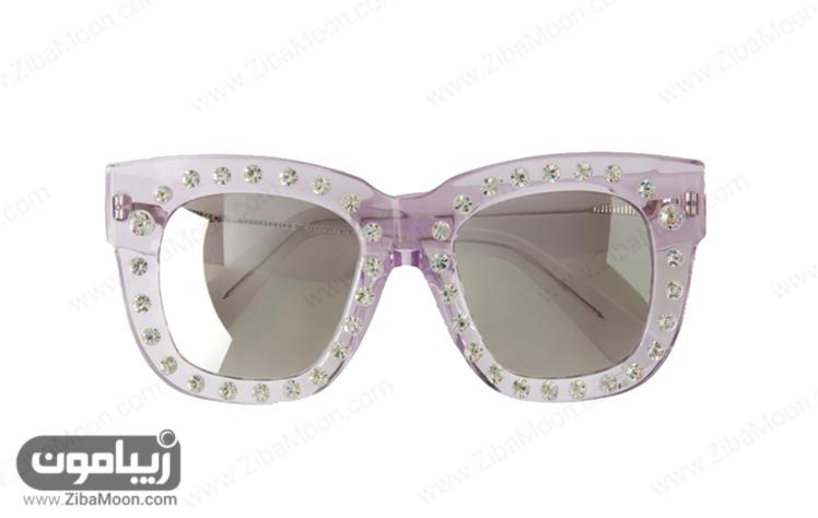 عینک زنانه با فریم مربعی و نگین دار