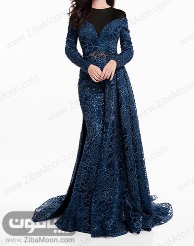 لباس مجلسی بلند با پارچه سورمه ای کار شده و آستین بلند
