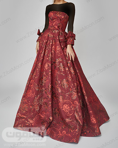 لباس مجلسی بلند و دکلته با پارچه زرشکی طرح دار