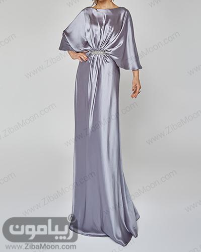 لباس مجلسی تابستانی بلند و شیک با پارچه براق نقره ای
