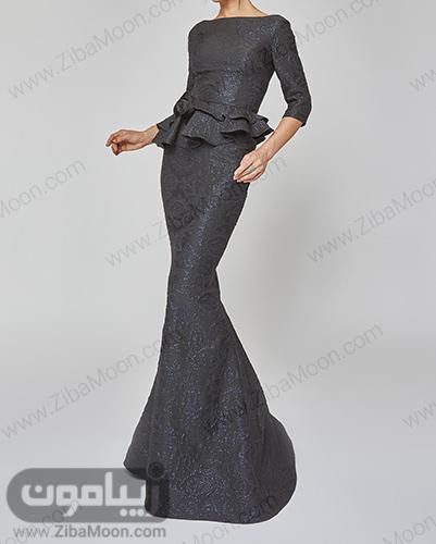 لباس مجلسی دخترانه بلند و جذاب با پارچه لمه مشکی
