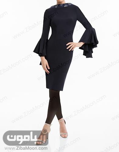 لباس مجلسی ساده و کوتاه مشکی با آستین بلند و چین دار