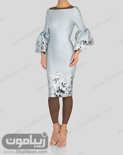 لباس مجلسی کوتاه دخترانه به رنگ آبی آسمانی و با آستین بلند و پف دار