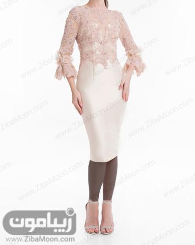لباس مجلسی دخترانه کوتاه با بالاتنه گیپوری و دامن براق صورتی