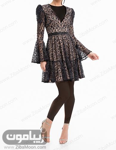 لباس مجلسی کوتاه گیپوری با آستین بلند و دامن چین دار