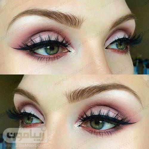 ارایش چشم سبز با سیاه نوود و خط چشم مشکی