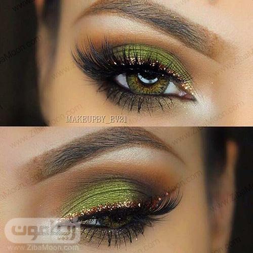 آرایش چشم سبز با سیاه سبز