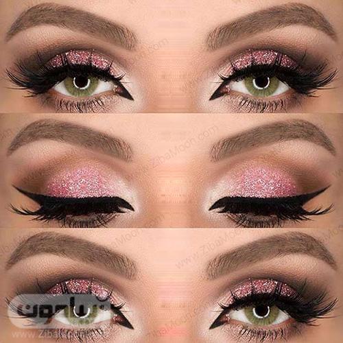آرایش چشم سبز با سیاه صورتی اکلیلی