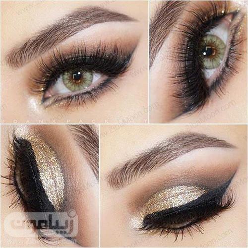 آرایش چشم سبز با سیاه طلایی