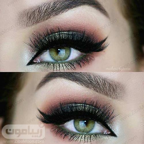 آرایش چشم با سیاه متالیک