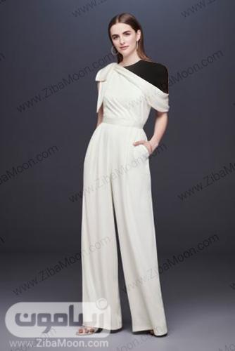 لباس عروس فرمالیته با یقه یکطرفه وبا شلوار