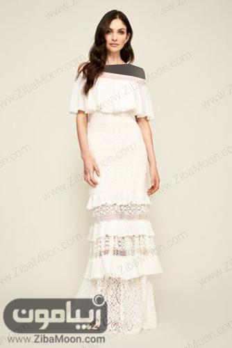 لباس فرمالیته با دامن چین دار و گیپوری