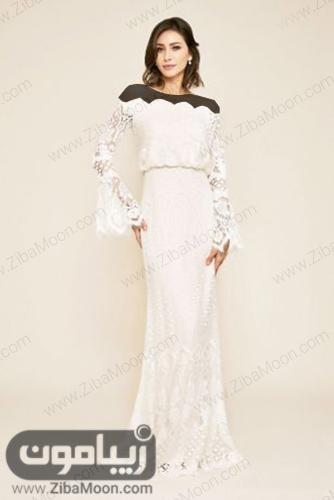لباس فرمالیته گیپوری آستین بلند و آف شولدر