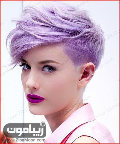 مدل مو کوپ با رنگ مو بنفش