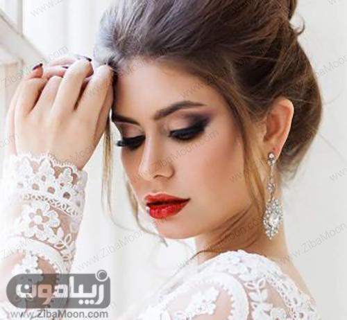 مدل آرایش عروس با رژلب قرمز