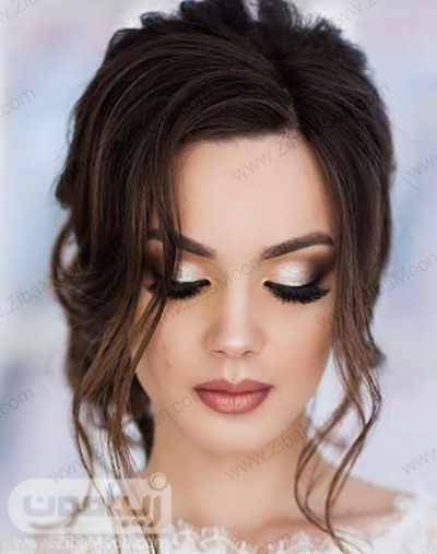 مدل آرایش عروس با سایه چشم نقره ای و مژه های بلند