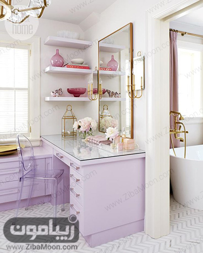 میز ارایش سفید با آینه بزرگ مستطیلی