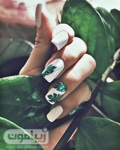 مدل ناخن شیک و خاص با طرح هاوایی و لاک سفید