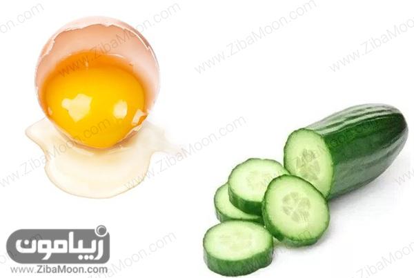 خیار و سفیده تخم مرغ
