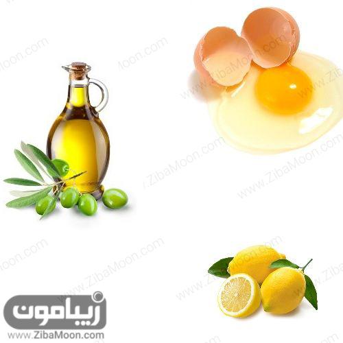 سفیده تخم مرغ، روغن زیتون و آب لیمو