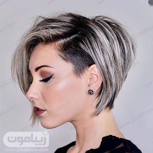 هایلایت مو بلوند یخی روی موهای کوتاه