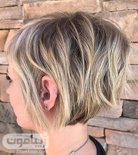 هایلایت مو طلایی روی موهای کوتاه و شیک