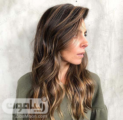 هایلایت مو کاراملی روی موهای تیره