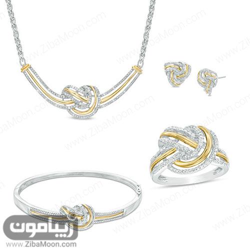 مدل ست کامل طلا سفید و زرد با طراحی ظریف و شیک