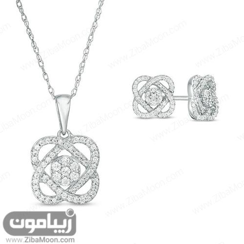 مدل نیم ست طلا سفید با جواهرات ریز به شکل گل
