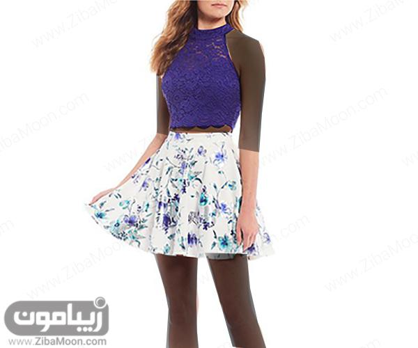 لباس مجلسی دخترانه دو تکه با بالاتنه گیپوری و دامن کوتاه گلدار