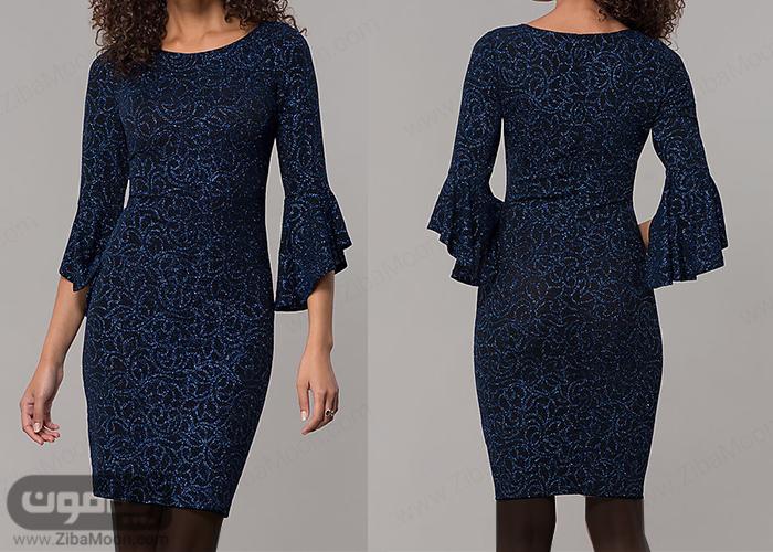 مدل لباس مجلسی کوتاه با پارچه لمه طرح دار سورمه ای و آستین بلند و چین دار