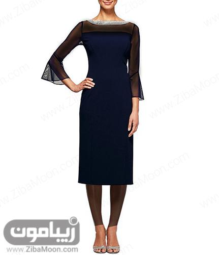 لباس مجلسی کوتاه ساده با آستین بلند توری