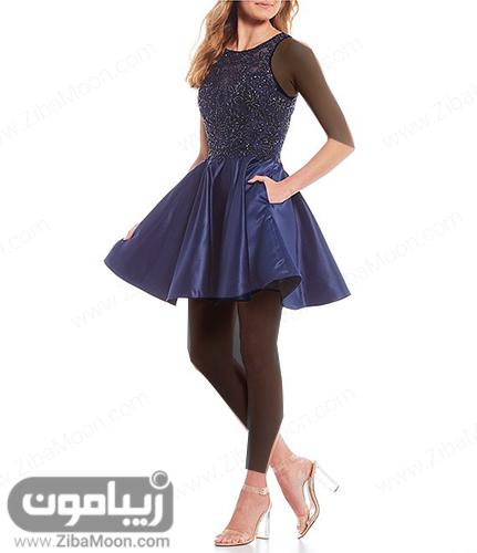 لباس مجلسی کوتاه عروسکی و دخترانه براق و زیبا